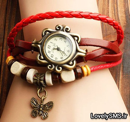 ساعت اليزابت بندچرم (قرمز)